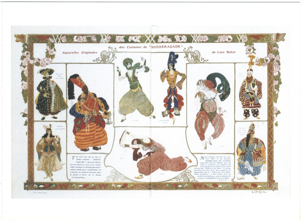 Léon Bakst's costume designs for Diaghilev's production of Rimsky-Korsakov's Scheherazade.