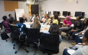 Susan Minot in session with Union Settlement students